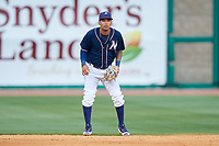 Northwest Arkansas Naturals shortstop Humberto Arteaga (6) during a game against the Midland RockHounds on May 27, 2017 at Arvest Ballpark in Springdale, Arkansas.  NW Arkansas defeated Midland 3-2.  (Mike Janes/Four Seam Images)