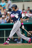 Corpus Christi Hooks shortstop Carlos Correa (1) follows through on his swing during the Texas League baseball game against the San Antonio Missions on May 10, 2015 at Nelson Wolff Stadium in San Antonio, Texas. The Missions defeated the Hooks 6-5. (Andrew Woolley/Four Seam Images)