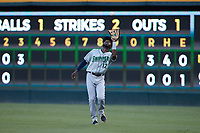 Gwinnett Stripers right fielder Travis Demeritte (12) settles under a fly ball during the game against the Charlotte Knights at Truist Field on July 17, 2021 in Charlotte, North Carolina. (Brian Westerholt/Four Seam Images)