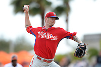 Philadelphia Phillies pitcher A.J. Burnett (34) during a spring training game against the Baltimore Orioles on March 7, 2014 at Ed Smith Stadium in Sarasota, Florida.  Baltimore defeated Philadelphia 15-4.  (Mike Janes/Four Seam Images)