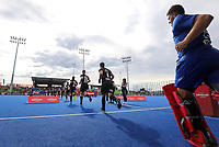 Blacksticks run onto the field during the Pro League Hockey match between the Blacksticks men and the Spain, Nga Punawai, Christchurch, New Zealand, Sunday 16 February 2020. Photo: Simon Watts/www.bwmedia.co.nz