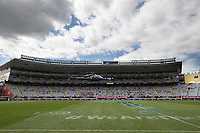 14th March 2021; Eden Park, Auckland, New Zealand;  Helicopter lands on Eden Park ground to deliver the match ball  - during the Super Rugby Aotearoa rugby match between the Blues and the Highlanders held at Eden Park, Auckland, New Zealand.