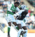 27/03/2010   Copyright  Pic : James Stewart.sct_jspa14_falkirk_v_hibernian  .::  STEVEN THICOT GETS ABOVE ENOCH SHOWUNMI ::  .James Stewart Photography 19 Carronlea Drive, Falkirk. FK2 8DN      Vat Reg No. 607 6932 25.Telephone      : +44 (0)1324 570291 .Mobile              : +44 (0)7721 416997.E-mail  :  jim@jspa.co.uk.If you require further information then contact Jim Stewart on any of the numbers above.........