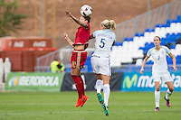 Spain's Jennifer Hermoso and England's Steph Houghton during the frendly match between woman teams of  Spain and England at Fernando Escartin Stadium in Guadalajara, Spain. October 25, 2016. (ALTERPHOTOS/Rodrigo Jimenez) /NORTEPHOTO.COM