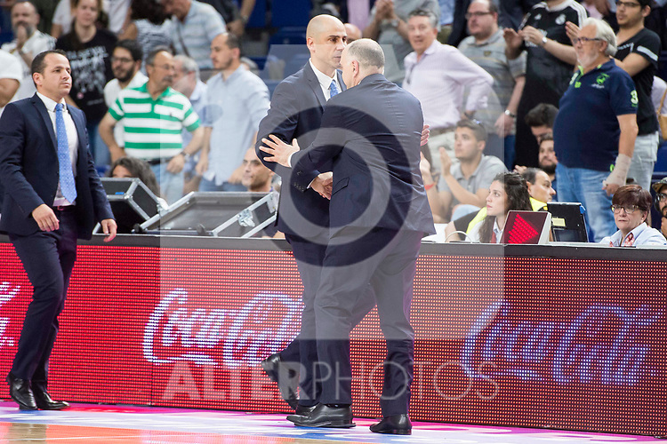 Real Madrid's coach Pablo Laso and Morabanc Andora's coach Joan Peñarroya during first match of playoff of La Liga Endesa 2016-2017 between Real Madrid and Morabanc Andorra at Wizink Center in Madrid,  May 24, 2017. Spain.<br /> (ALTERPHOTOS/BorjaB.Hojas)