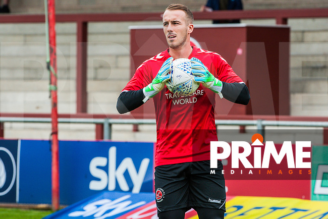 Fleetwood Town's goalkeeper Alex Cairns (1) during the Sky Bet League 1 match between Fleetwood Town and Bradford City at Highbury Stadium, Fleetwood, England on 1 September 2018. Photo by Stephen Buckley / PRiME Media Images.