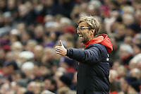 Liverpool Manager Jurgen Klopp shouts out during the Barclays Premier League Match between Liverpool and Swansea City played at Anfield, Liverpool on 29th November 2015