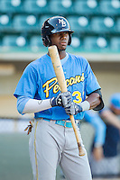 Lewis Brinson (32) of the Myrtle Beach Pelicans steps up to the plate during the game against the Winston-Salem Dash at BB&T Ballpark on July 16, 2014 in Winston-Salem, North Carolina.  The Pelicans defeated the Dash 6-2.   (Brian Westerholt/Four Seam Images)
