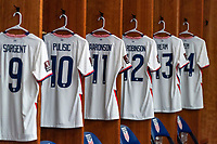 NASHVILLE, TN - SEPTEMBER 5: The jersey of Brenden Aaronson #11 of the United States hangs in the locker room during a game between Canada and USMNT at Nissan Stadium on September 5, 2021 in Nashville, Tennessee.
