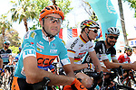 New race leader Davide Rebellin (ITA) CCC Sprandi Polkowice, Andre Greipel (GER) Lotto-Soudal and Tom Boonen (BEL) Etixx-Quick Step lined up before the start of Stage 4 of the 2015 Presidential Tour of Turkey running 132km from Fethiye to Marmaris. 29th April 2015.<br /> Photo: Tour of Turkey/Mario Stiehl/www.newsfile.ie