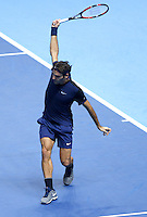 Roger Federer of Switzerland in action at the ATP World Tour Finals, The O2, London, 2015