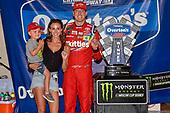 #18: Kyle Busch, Joe Gibbs Racing, Toyota Camry Skittles Red White & Blue victory lane