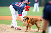 Memphis Redbirds pitcher Brandon Dickson #29 gets the game ball from Jake the Wonder Dog during a game versus the Round Rock Express at Autozone Park on April 30, 2011 in Memphis, Tennessee.  Memphis defeated Round Rock by the score of 10-7.  Photo By Mike Janes/Four Seam Images