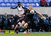 Bolton Wanderers' Arthur Gnahoua competing with Oldham Athletic's Carl Piergianni (right) <br /> <br /> Photographer Andrew Kearns/CameraSport<br /> <br /> The EFL Sky Bet League Two - Bolton Wanderers v Oldham Athletic - Saturday 17th October 2020 - University of Bolton Stadium - Bolton<br /> <br /> World Copyright © 2020 CameraSport. All rights reserved. 43 Linden Ave. Countesthorpe. Leicester. England. LE8 5PG - Tel: +44 (0) 116 277 4147 - admin@camerasport.com - www.camerasport.com