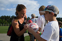 Christie Rampone, fans. The USWNT practice at WakeMed Soccer Park in preparation for their game with Japan.