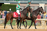 """October 07, 2018 : #1 Chelsea Cloisters and jockey Jose Ortiz before the 1st running of The Indian Summer $200,000 """"Win and You're In Breeders' CupJuvenile Turf Sprint Division"""" for trainer Mark Casse and owner John Oxley  at Keeneland Race Course on October 07, 2018 in Lexington, KY.  Candice Chavez/ESW/CSM"""