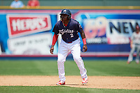 Reading Fightin Phils left fielder Cornelius Randolph (2) leads off second base during the first game of a doubleheader against the Portland Sea Dogs on May 15, 2018 at FirstEnergy Stadium in Reading, Pennsylvania.  Portland defeated Reading 8-4.  (Mike Janes/Four Seam Images)