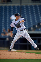Tampa Tarpons relief pitcher Janson Junk (15) during a Florida State League game against the Lakeland Flying Tigers on April 7, 2019 at George M. Steinbrenner Field in Tampa, Florida.  Tampa defeated Lakeland 3-2.  (Mike Janes/Four Seam Images)