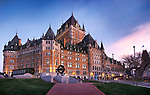 Fairmont Le Château Frontenac at dusk, luxury grand hotel Chateau Frontenac, National Historic Site of Canada. Old Quebec City, Quebec, Canada. Ville de Québec.