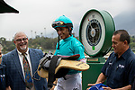 """ARCADIA, CA  SEPTEMBER 27: John Velazquez, gets weighed after winning the American Pharoah Stakes (Grade 1) """"Win and You're In Breeders' Cup Juvenile Division"""" on September 27, 2019 at Santa Anita Park in Arcadia, CA."""