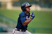 Atlanta Braves Braulio Vasquez (14) runs to first base during a Florida Instructional League game against the Canadian Junior National Team on October 9, 2018 at the ESPN Wide World of Sports Complex in Orlando, Florida.  (Mike Janes/Four Seam Images)