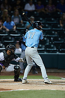 Jake Guenther (17) of the Hickory Crawdads at bat against the Winston-Salem Dash at Truist Stadium on July 10, 2021 in Winston-Salem, North Carolina. (Brian Westerholt/Four Seam Images)