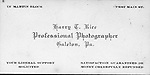 Harry T. Rice Photographer business card Galeton, PA