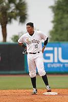 Charleston RiverDogs catcher Alvero Noriega (13) during a game against the Augusta GreenJackets at Joseph P.Riley Jr. Ballpark on April 15, 2015 in Charleston, South Carolina. Charleston defeated Augusta 8-0. (Robert Gurganus/Four Seam Images)