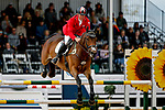 October 17, 2021: Karl Slezak (CAN), aboard Fernhill Wishes, competes during the Stadium Jumping Final at the 5* level during the Maryland Five-Star at the Fair Hill Special Event Zone in Fair Hill, Maryland on October 17, 2021. Jon Durr/Eclipse Sportswire/CSM