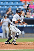 Charleston RiverDogs left fielder Isiah Gilliam (25) swings at a pitch during a game against the Asheville Tourists at McCormick Field on July 5, 2017 in Asheville, North Carolina. The RiverDogs defeated the Tourists 10-9. (Tony Farlow/Four Seam Images)