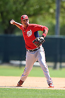 Washington Nationals third baseman Drew Ward (17) during practice before a minor league spring training game against the Atlanta Braves on March 26, 2014 at Wide World of Sports in Orlando, Florida.  (Mike Janes/Four Seam Images)