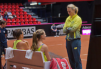Netherlands, Den Bosch, April 18 2015 Maaspoort, Fedcup Netherlands-Australia,  Doubles: Jarmila Gajdosova and Olivia Rogowska (AUS)   with captain alicia Molik on the bench<br /> Photo: Tennisimages/Henk Koster