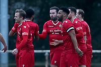 Sam Higgins of Hornchurch scores the first goal for his team and celebrates with his team mates during Hornchurch vs Maidstone United, Buildbase FA Trophy Football at Hornchurch Stadium on 6th February 2021