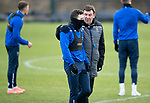St Johnstone Training…….24.01.20<br />Manager Tommy Wright pictured with Drey Wright during training this morning at McDiarmid Park ahead of tomorrow's game against Kilmarnock.<br />Picture by Graeme Hart.<br />Copyright Perthshire Picture Agency<br />Tel: 01738 623350  Mobile: 07990 594431