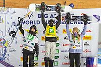 9th January 2021; Kreischberg, Murau, Austria. FIS World Cup Womens Snowboarding Big Air;  2nd placed Kokomo Murase of Japan winner Zoi Sadowski Synnott of New Zealand 3rd placed Anna Gasser of Austria during the winners ceremony of women Snowboard Big Air Competition