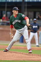 Greenville Drive starting pitcher Ty Buttrey #47 delivers a pitch during a game against the  Asheville Tourists at McCormick Field on May 18, 2014 in Asheville, North Carolina. The Tourists defeated the Drive 3-1. (Tony Farlow/Four Seam Images)
