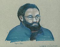 FILE IMAGE -  Chiheb Essghaier<br />  comparution at Montreal Justice Hall, April 23, 2013.<br /> <br /> Chiheb Essghaier was arrested by the RCMP while plotting to bomb a Via Rail train<br /> <br /> <br /> <br /> Drawing : Agence Quebec Presse - Atalante