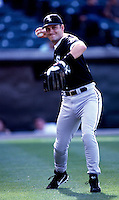 Robin Ventura of the Chicago White Sox plays in a baseball game at Edison International Field during the 1998 season in Anaheim, California. (Larry Goren/Four Seam Images)