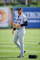 Kane County Cougars third baseman Ramon Hernandez (19) warms up before a game against the South Bend Cubs on May 3, 2017 at Four Winds Field in South Bend, Indiana.  South Bend defeated Kane County 6-2.  (Mike Janes/Four Seam Images)