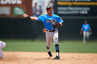 Akron RubberDucks shortstop Alexis Pantoja (1) turns a double play during an Eastern League game against the Bowie Baysox on May 30, 2019 at Prince George's Stadium in Bowie, Maryland.  Akron defeated Bowie 9-5.  (Mike Janes/Four Seam Images)