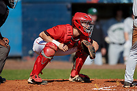 Bradley Braves catcher Keaton Rice (15) during a game against the Dartmouth Big Green on March 21, 2019 at Chain of Lakes Stadium in Winter Haven, Florida.  Bradley defeated Dartmouth 6-3.  (Mike Janes/Four Seam Images)