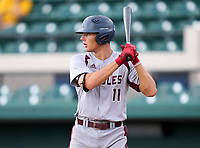 Stoneman Douglas Eagles Gavin Conticello (11) bats during the 42nd Annual FACA All-Star Baseball Classic on June 5, 2021 at Joker Marchant Stadium in Lakeland, Florida.  (Mike Janes/Four Seam Images)