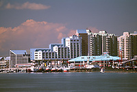 New Westminster, BC, British Columbia, Canada - 'Inn at the Quay', 'River Market', and Highrise Condominium Buildings along the Fraser River Waterfront at 'Westminster Quay'