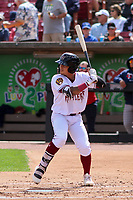 Wisconsin Timber Rattlers outfielder Carlos Rodriguez (3) at bat during a game against the Cedar Rapids Kernels on September 8, 2021 at Neuroscience Group Field at Fox Cities Stadium in Grand Chute, Wisconsin.  (Brad Krause/Four Seam Images)