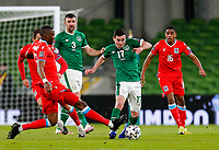 27th March 2021; Aviva Stadium, Dublin, Leinster, Ireland; 2022 World Cup Qualifier, Ireland versus Luxembourg; Christopher Martins of Luxembourg tackles the ball away from Josh Cullen of Ireland