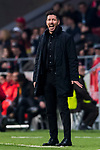 Coach Diego Simeone of Atletico de Madrid reacts during the UEFA Europa League 2017-18 Round of 16 (1st leg) match between Atletico de Madrid and FC Lokomotiv Moscow at Wanda Metropolitano  on March 08 2018 in Madrid, Spain. Photo by Diego Souto / Power Sport Images