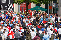 7th July 2021, Wembley Stadium, London, England; 2020 European Football Championships (delayed)  semi-final, England versus Denmark; England fans in packed Arena Square, Wembley Park. 60,000 fans are set to descend to Wembley Park to watch England play Denmark