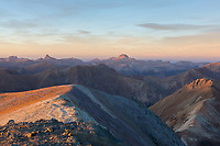 Wetterhorn and Uncompahgre from Handies Peak at sunset