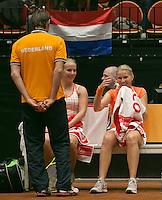 The Netherlands, Den Bosch, 20.04.2014. Fed Cup Netherlands-Japan, Hogenkamp/Krajicek with captain Haarhuis<br /> Photo:Tennisimages/Henk Koster