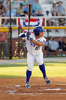 Burlington Royals catcher Freddy Fermin (49) at bat during a game against the Greeneville Reds at the Burlington Athletic Complex on July 7, 2018 in Burlington, North Carolina. Burlington defeated Greeneville 2-1. (Robert Gurganus/Four Seam Images)